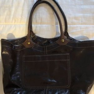 Coach Tote Bag, Brown Patent Leather, pink lining